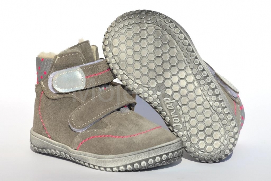 JONAP barefoot B5 šedá - růžová tečka 142559ca82